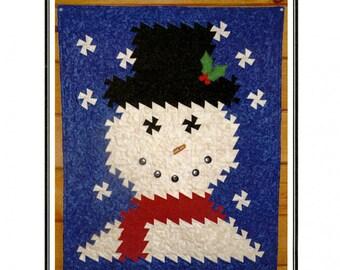 """Winter Twist Quilt Pattern, Snowman Quilt, 26 1/2"""" x 35 1/2"""" Wallhanging, Twister Pattern, Winter Quilt"""