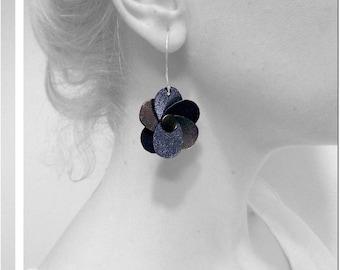 Earrings flower leather / / original flowers