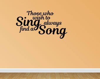 Wall Decal Quote Sing A Song Music Decal Vinyl Wall Decals Vinyl Letters Wall Quotes Music Quote Musical Theme (PC73)