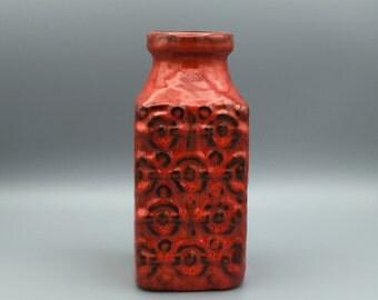 Bay Keramik 984 - 20, Bodo Mans design,  rectangular Vintage Mid Century  FAT LAVA 1960s /1970s colourful Vase  West Germany Pottery. WGP.