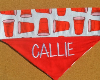 Party Cups ~ Personalized/Reversible  - Over The Collar Dog Bandana