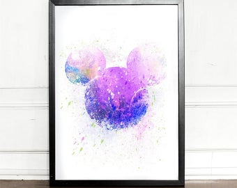 Mickey Mouse,watercolor illustration, giclee art print, Disney inspired