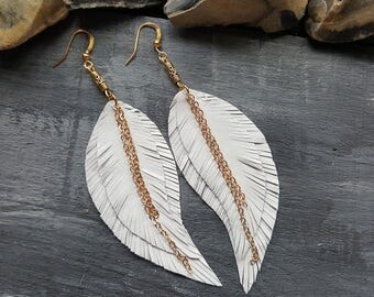 White Leather Earrings Long Feather Earrings Bohemian Leather Jewelry Boho Earrings Gold White Earrings Long Dangle Earrings Boho Chic