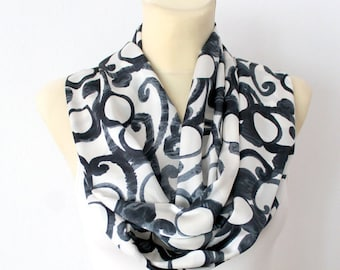 Geometric Printed Scarf Autumn Fashion Scarves Unique Handmade Scarves Ladies Scarves Gift for Her Gift Womens Summer Outdoors Summer Party