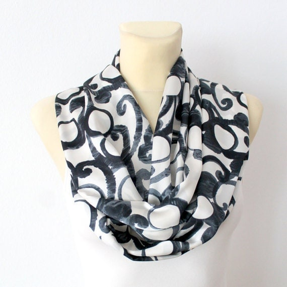 Geometric Printed Scarf Autumn Fashion Scarves Unique Handmade Scarves Ladies Scarves Gift for Her Gift Womens Homemade Scarfs Christmas