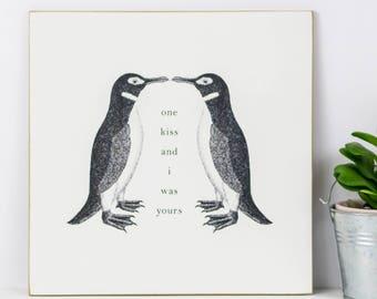 Wooden Penguin Print; Penguin Gift; Anniversary Gift; Love Gift; Love You Gift; Wood Wall Art; Wood Signs; Wood Print; Gift For Girlfriend