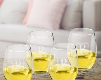 Initial Stemless Wine Glass Set - Monogrammed Wine Glass Set - Personalized Glass Set of 4 - Wine Glasses - GC1512 Initial