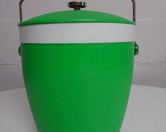 Vintage Olympian Therm-O-Ware Lime Green Ice Bucket Barware -  FREE SHIPPING