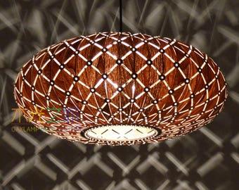 Wood Pendant Light-Beautiful Galaxy Pendant Lamp-Walnut Veneer-Cut-Out Style-Pendant Lamp-Ceiling Light-Lighting-Chandelier Lighting-Fixture