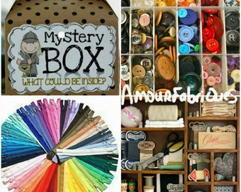 Mystery box kit-Buttons,Zippers,Cross stitch,Snaps,Thread,Lace,Ribbon,tools,buttons,quilt supplies,knitting supplies,craft supplies-needles.