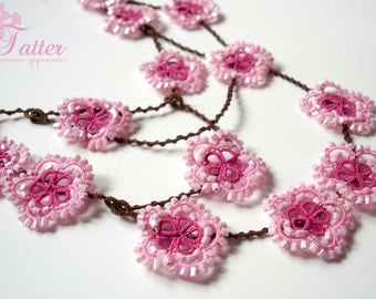 "Tatting Pattern PDF ""Spring Flower Necklace"""