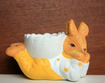 Rabbit Egg Cup - Painted Greenware Egg Cup - Greenware Egg Holder - Easter Egg Cup