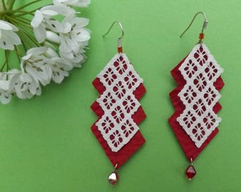 Red & White chandelier leather and lace Earrings  - boho earrings - chandelier earrings - unique jewelry
