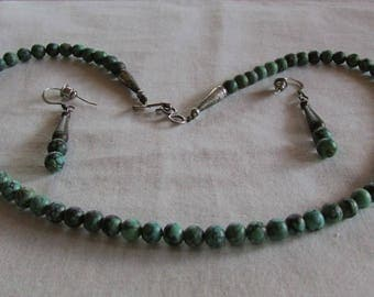 Turquoise Bead Necklace and Earring Set