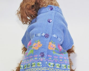 """Dog SWEATER 9"""" TEACUP Upcycled Teacup Floral Knit"""