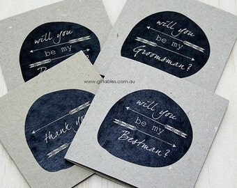 Recycled Mens Bridal Party Gift Cards - Will you be my...?
