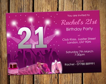 21st Birthday Personalised Party Invitations Girls Night Out