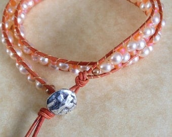 Leather and Pearls Wrap Bracelet