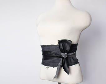 Black leather & upcycled denim sash belt