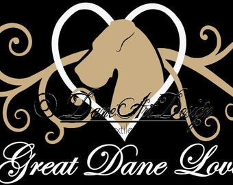 Great Dane Love Vinyl Decal From DaneArt Design With Natural Ears - 2 Colors