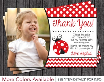 Ladybug Thank You Card - Ladybug Birthday Thank You Card