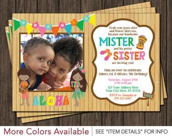Luau Birthday Invitation • Luau Party Hawaiian Invitation • Boy and Girl, Twins, Siblings, Joint Birthday Invitations • Mister and Sister
