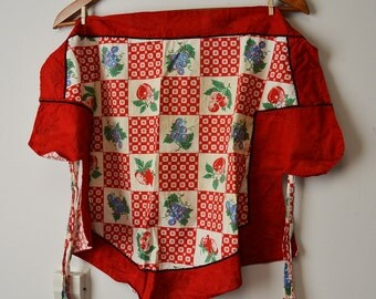 Cute Vintage Apron - Red with Fruit Pattern, Two Pockets, 1950s?