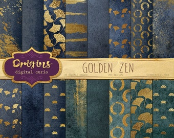 Golden Zen Digital Paper, gold paint brush strokes, lotus, tranquility scrapbook paper, gold ginko leaf digital background zen patterns
