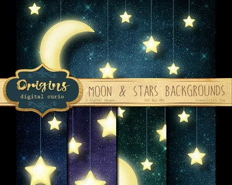 Moon and Stars Digital Paper, Celestial Digital Paper, Moon, Stars Scrapbook Printable Paper Pack, Starry skies instant download