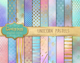 Unicorn Pastel Watercolors Digital Paper, watercolour textures, unicorn digital paper, pastel backgrounds, pink printable scrapbook paper