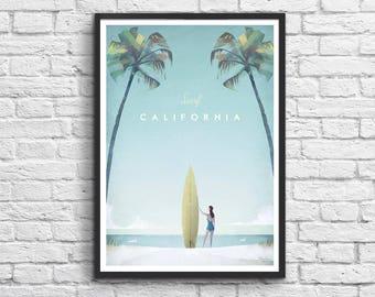 Art-Poster 50 x 70 cm - Surf California Travel Poster