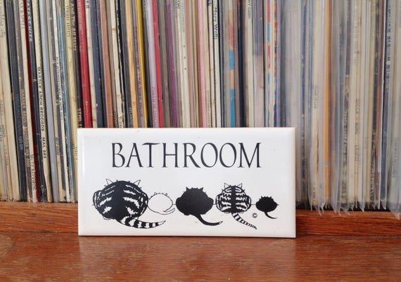 Items similar to cat people bathroom door sign on etsy for Cat bathroom door