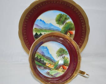Occupied Japan Tea Cup and Saucer ,  Burgundy and Gold , Tea Set From the 50s
