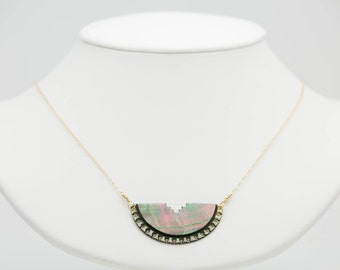 Dark Tahitian Lace Mother of Pearl Necklace on Gold