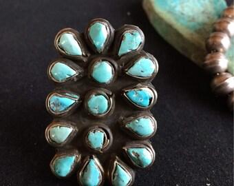 Old Pawn Native American Turquoise Snake Eye Petit Point Ring - Size 5 3/4