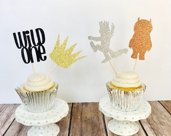 Where the Wild Things Are Glitter Cupcake Toppers/ Wild Things Cupcake Toppers/ Where the Wild Things are cupcake toppers/ set of 12