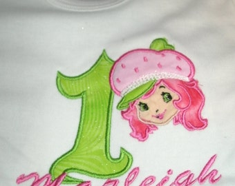 Strawberry Shortcake girl Birthday Personalized Shirt .. Custom Made Any Character, Number, Design or Colors  EMBROIDERED