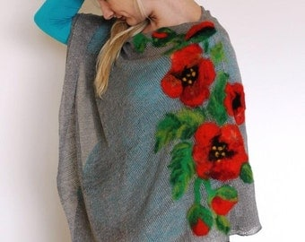 poppies red Pure Linen Pancho Cape gray wrap poncho linen sweater pancho linen cape gray Scarf Knit Shawl Modern Clothing Accessories