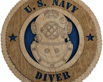 11.3 inch US Navy Diver Baltic Birch Wall Plaque