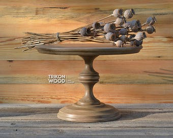 """12"""" Wood Cake Stand. Wedding Cake Stand. Birthday Cake Stand. Round Cake Stand. Housewarming Gift"""