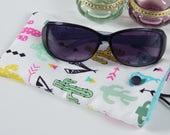 Cactus sunglasses case, handmade glasses case, reading glasses case, summer accessory, birthday present, gift for her, teachers gift