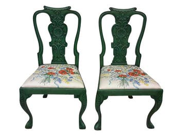 2 Anthropologie Style Queen Anne Arm Chairs/Accent Chairs/Office Chairs