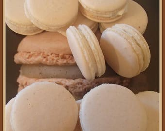 Vanilla Macarons Macaroons Almond  Vanilla Macarons with ganache Wedding Bridal Birthday 12 pc