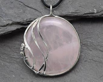 Rose Quartz pendant,Stone pendant,pendant,Heart necklace,Healing stone,Metalwork pendant,Rose quartz necklace,amulet necklace,Ooak jewelry