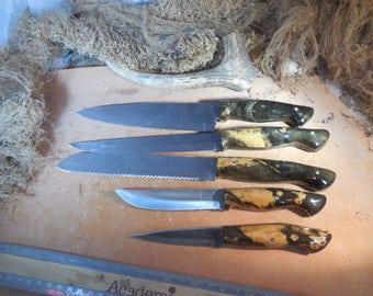 5 pc. stainless steel Buckeye Burl wood kitchen knife set
