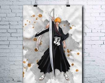 Bleach Anime - Ichigo Kurosaki - Ichigo Poster - Bleach Ichigo Printables - Ichigo Print - Watercolor Print - Ichigo Wall Art - Bleach Art