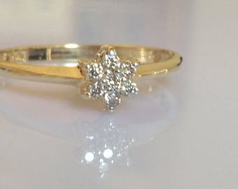 Vintage Diamond Star of David Ring in 14K Yellow Gold