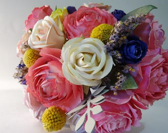 Bouquet, wedding bouquet, peonies, roses, paper, wild bouquet flowers
