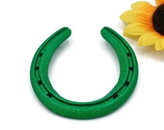 Lucky Horseshoe - Horseshoe Decor - Lucky Green Glitter Horse Shoes - Greenery - Painted Horseshoes - Gifts Under 20 - Good Luck Charm