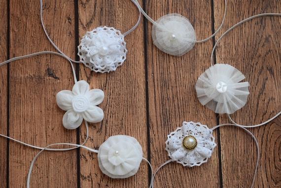 Set of 6, White flowers Baby Headband, Newborn Headband,  Infant Headband,Baby Headband, Headband Baby,Baby Headband